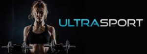 Ultrasport logo fitness centre woman with dumbbells