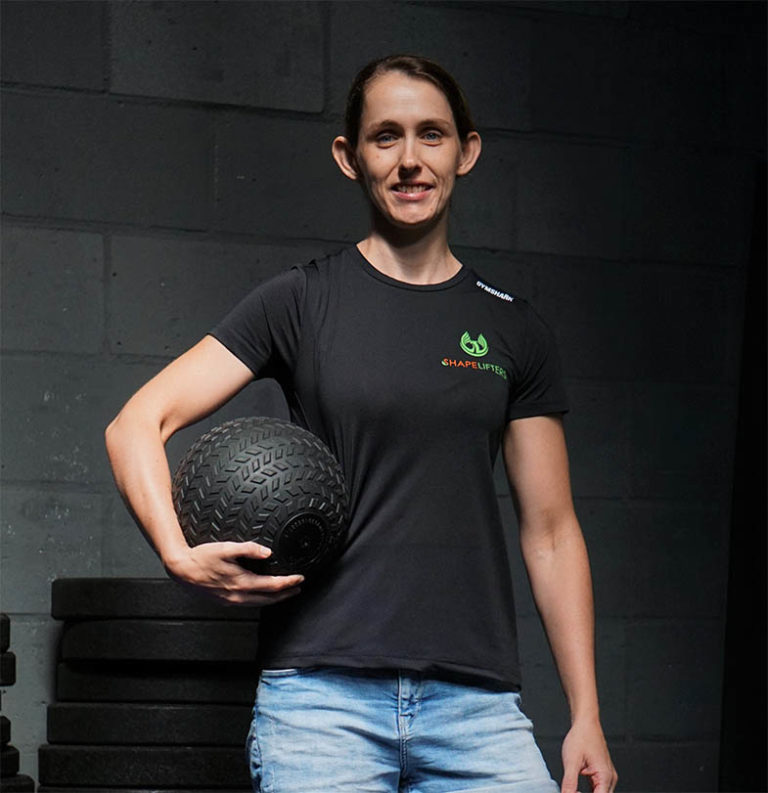 Shapelifters personal trainer Suzanne weighted ball