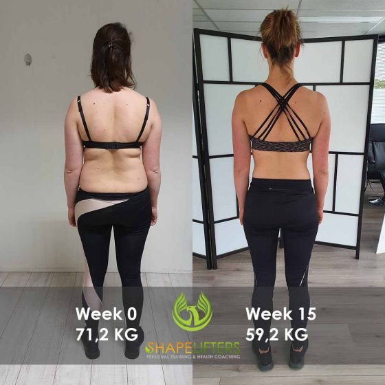 Shapelifters transformation personal training results with Marloes 12kg loss pixels 1080x1080 backside foto 3